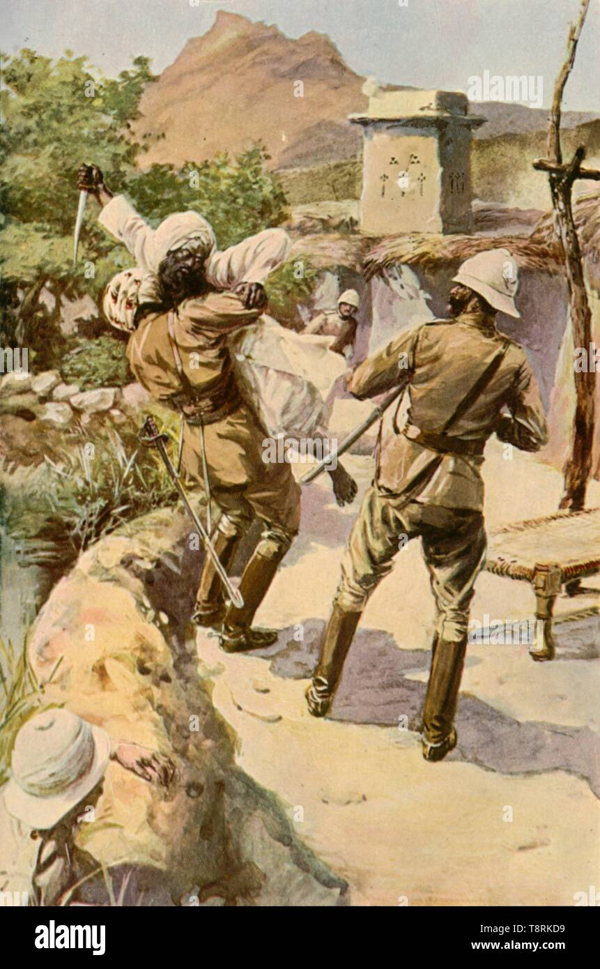 "'Roberts Saved by a Trooper at Bhagwana', (1901). Incident in Afghanistan, c1870s, from the life of British major general Sir Frederick, 1st Earl Roberts (1832-1914). After a work made late 19th-early 20th century. From ""The Life and Deeds of Earl Roberts, Vol. III. - To The End of Lord Roberts's Indian Career"", by J. Maclaren Cobban. [T. C. & E. C. Jack, Edinburgh, 1901] - Stock Image"