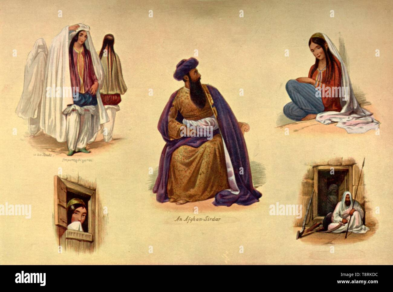 """'Kabul Types', 1840s, (1901). Portraits of people in the capital of Afghanistan: a woman donning a burqa before going out (top left), 'An Afghan Sirdar', (a term denoting a prince or noblemen, or a tribal chief, centre). From """"The Life and Deeds of Earl Roberts, Vol. III. - To The End of Lord Roberts's Indian Career"""", by J. Maclaren Cobban. [T. C. & E. C. Jack, Edinburgh, 1901] - Stock Image"""