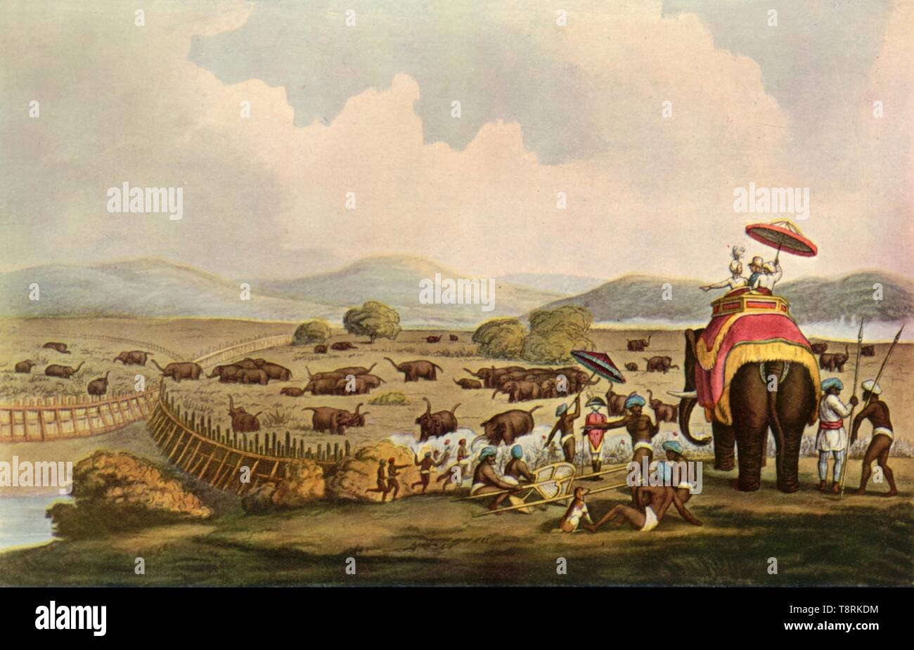 'Sport in India - Driving Elephants Into A Keddah', c1808, (1901).  Creator: Unknown. - Stock Image