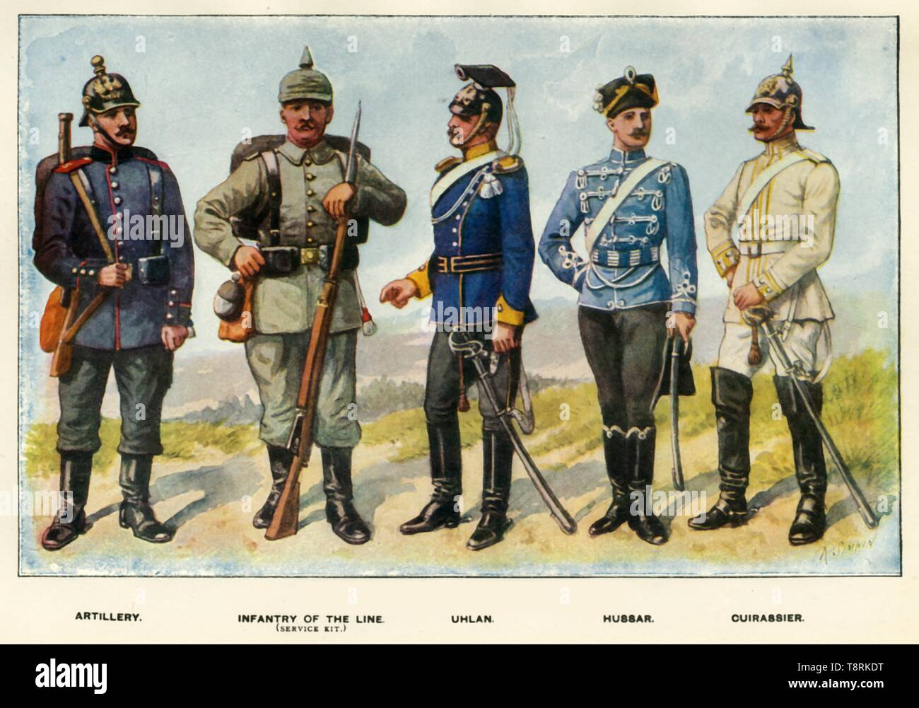 """'Types of the German Army', 1919. Soldiers serving during the First World War, 1914-1919: Artillery, Infantry of the Line (service kit), Uhlan, Hussar, Cuirassier. From """"The History of the Great European War: its causes and effects"""", Vol. I, by W. Stanley Macbean Knight. [Caxton Pulishing Company, Limited, London, 1919] - Stock Image"""