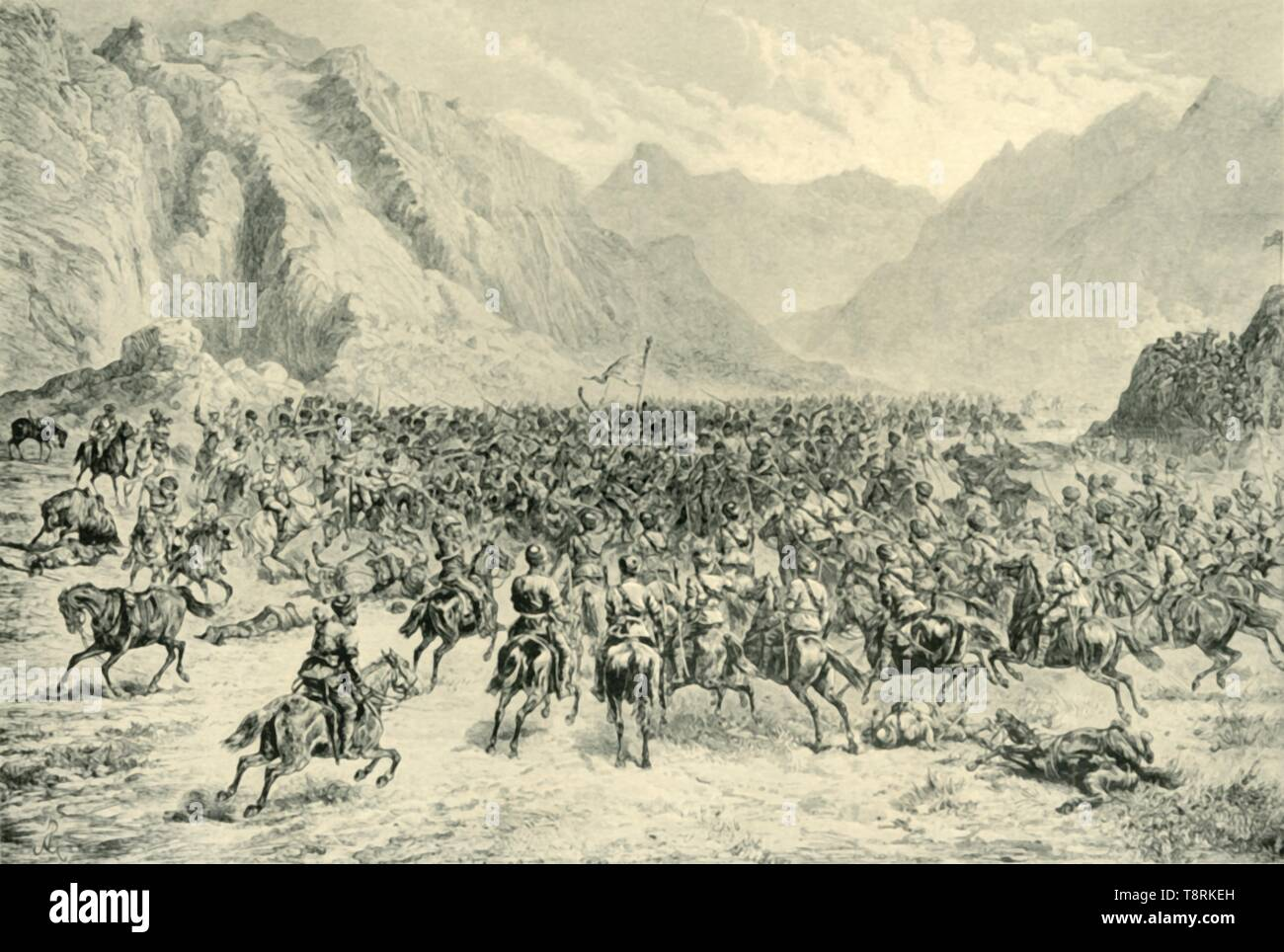 """'Charge of Punjab Cavalry in the Second Action Near Charasia, on 24th April 1880', (1901). Incident during the Second Afghan War: British and Indian troops fighting Afghan forces near Kabul, Afghanistan. From """"The Life and Deeds of Earl Roberts, Vol. III. - To The End of Lord Roberts's Indian Career"""", by J. Maclaren Cobban. [T. C. & E. C. Jack, Edinburgh, 1901] - Stock Image"""