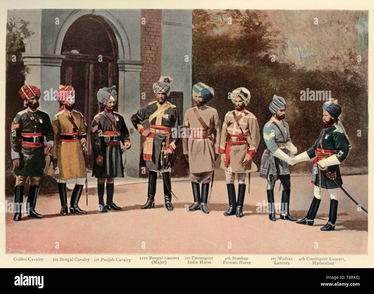 """'Types of Indian Cavalry', 1901. Indian soldiers during the period of the British Raj: 'Guides Cavalry; 1st Bengal Cavalry; 1st Punjab Cavalry; 11th Bengal Lancers (Major); 1st Contingent India Horse; 4th Bombay Poonah Horse; 1st Madras Lancers; 4th Contingent Lancers, Hyderabad'. From """"The Life and Deeds of Earl Roberts, Vol. III. - To The End of Lord Roberts's Indian Career"""", by J. Maclaren Cobban. [T. C. & E. C. Jack, Edinburgh, 1901] - Stock Image"""