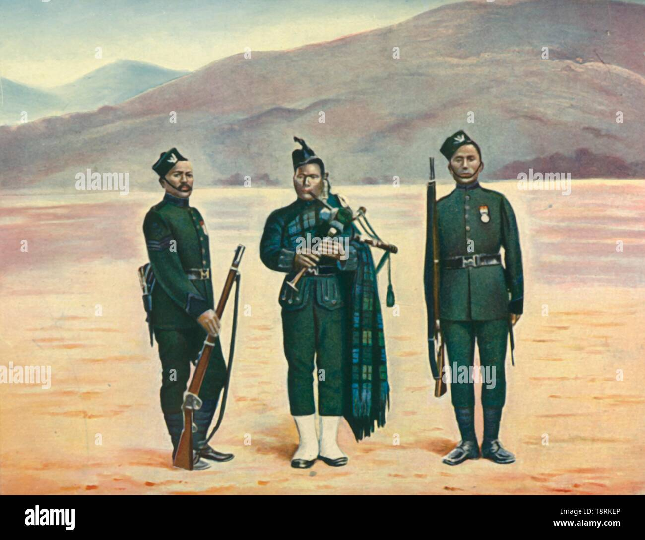 "'The Fifth Gurkhas', 1901. Nepalese soldiers during the period of the British Raj. Gurkha soldiers have been recruited to the British Army since the 19th century. From ""The Life and Deeds of Earl Roberts, Vol. II. - To The Abdication of Yakub Khan"", by J. Maclaren Cobban. [T. C. & E. C. Jack, Edinburgh, 1901] - Stock Image"