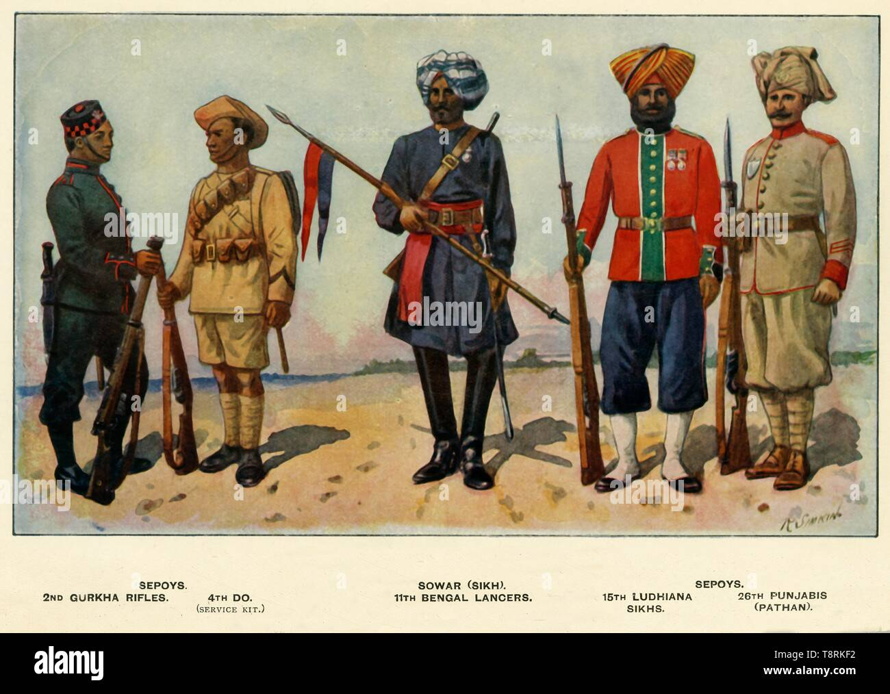 """'Types of the Indian Army', 1919. Soldiers serving during the First World War, 1914-1919: Sepoys - 2nd Gurkha Rifles, 4th DO (service kit); Sowar (Sikh), 11th Bengal Lancers; Sepoys - 15th Ludhiana Sikhs; 26th Punjabis (Pathan). From """"The History of the Great European War: its causes and effects"""", Vol. III, by W. Stanley Macbean Knight. [Caxton Pulishing Company, Limited, London, 1919] - Stock Image"""