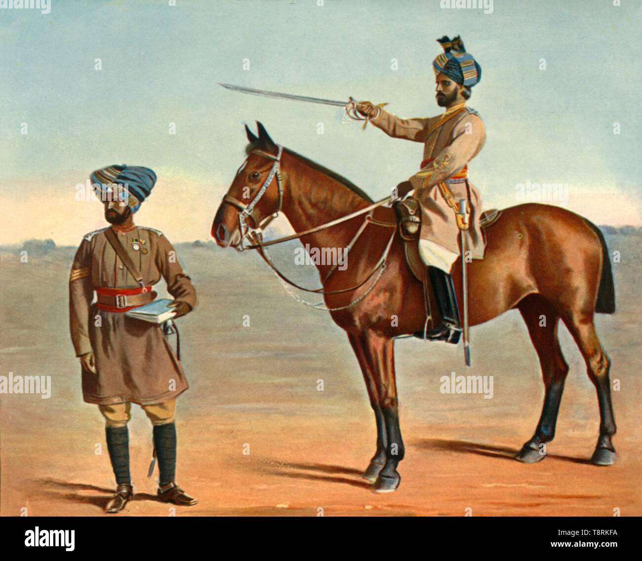 """'The Central India Horse', 1901. Indian soldiers during the period of the British Raj. The Central India Horse was a cavalry regiment of the British Indian Army, formed at the start of the Indian Rebellion of 1857. The regiment served in the Great War and the Second World War. From """"The Life and Deeds of Earl Roberts, Vol. II. - To The Abdication of Yakub Khan"""", by J. Maclaren Cobban. [T. C. & E. C. Jack, Edinburgh, 1901] - Stock Image"""