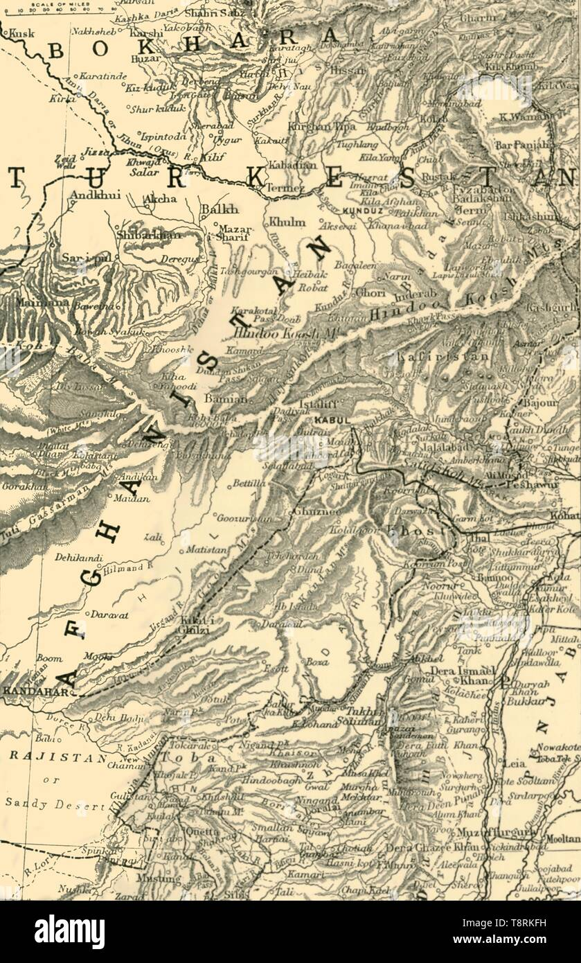 'Map Indicating General Roberts's Route to Kabul...and the British and Russian Boundaries', 1901.  Creator: Unknown. - Stock Image