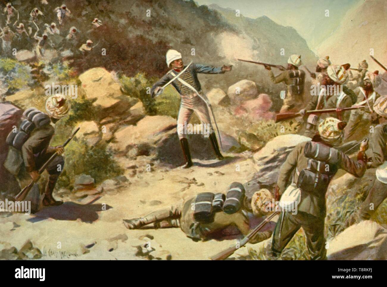 "'Roberts Rallying the Pioneers at Umbeyla', (1901). British Brevet Major Frederick Sleigh Roberts (1832-1914) fought in the Ambela (or Umbeyla) Campaign of 1863, waged by the British against local Pashtuns of Yusufzai tribes, in the border region between British India and Afghanistan. From ""The Life and Deeds of Earl Roberts, Vol. II. - To The Abdication of Yakub Khan"", by J. Maclaren Cobban. [T. C. & E. C. Jack, Edinburgh, 1901] - Stock Image"