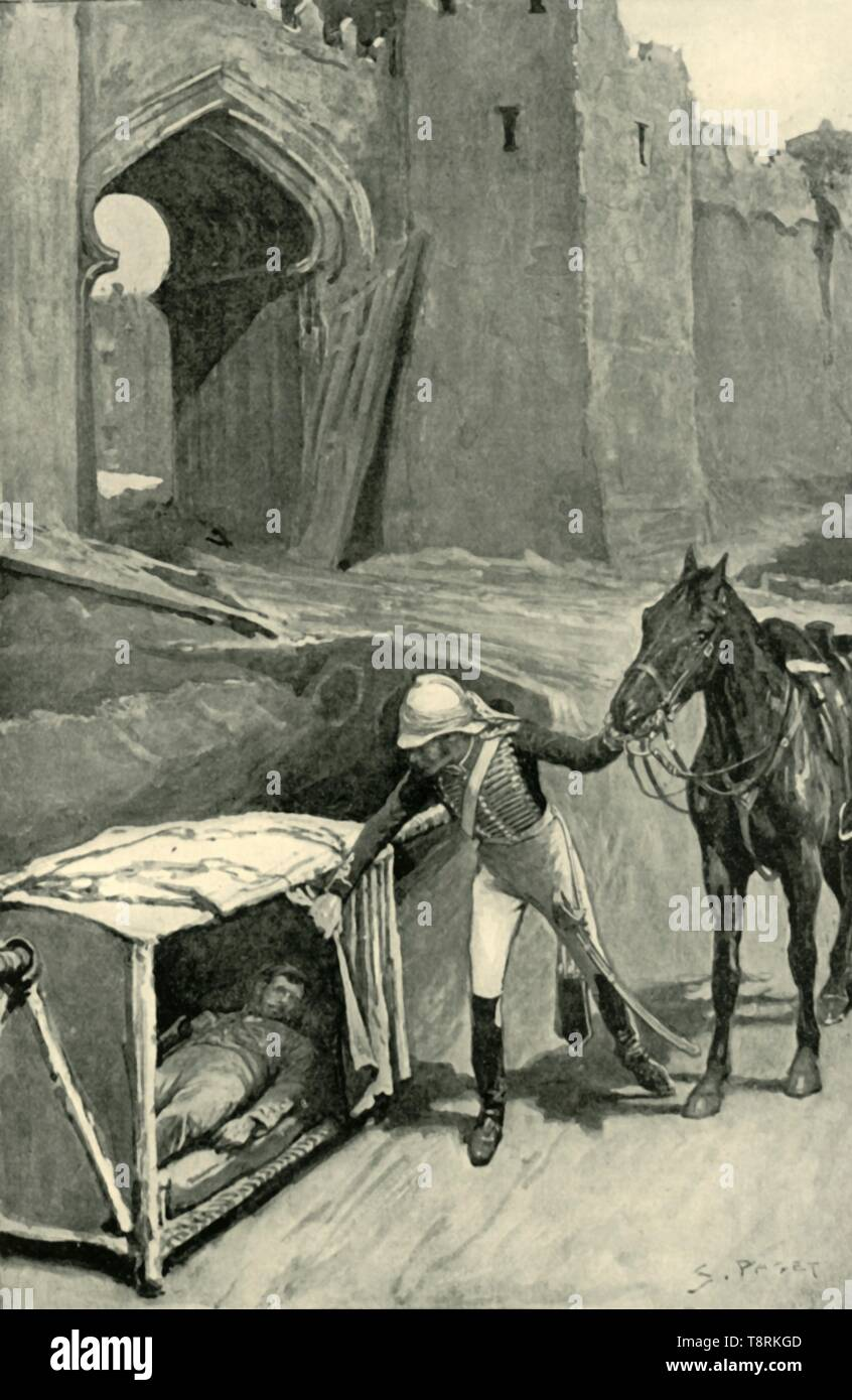 'Roberts Finds Nicholson Mortally Wounded Under the Walls of Delhi', (1901).  Creator: Sidney E Paget. - Stock Image
