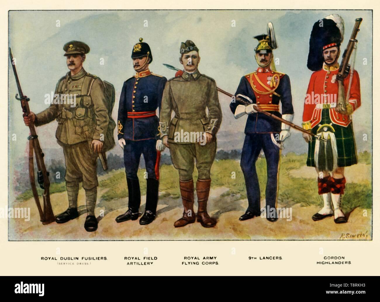 'Types of the British Army', 1919. Creator: Richard Simkin. Stock Photo