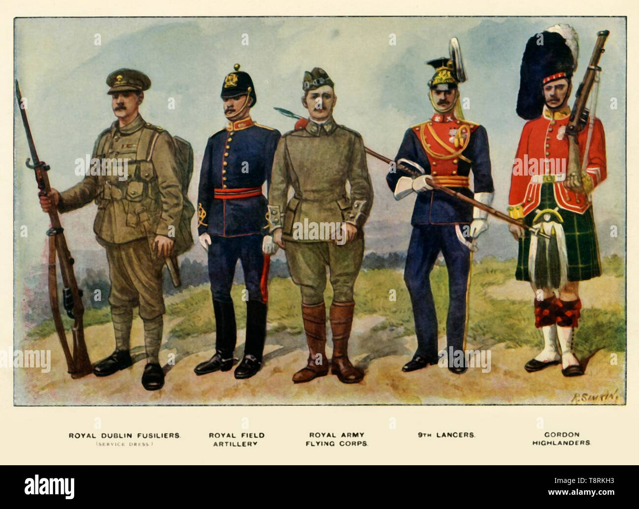 """'Types of the British Army', 1919. Soldiers serving in the First World War, 1914-1919: Royal Dublin Fusiliers (service dress); Royal Field Artillery; Royal Army Flying Corps; 9th Lancers; Gordon Highlanders. From """"The History of the Great European War: its causes and effects"""", Vol. II, by W. Stanley Macbean Knight. [Caxton Pulishing Company, Limited, London, 1919] - Stock Image"""