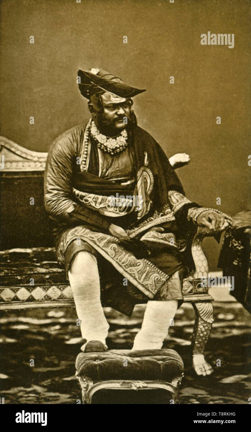 """'H.H. General The Maharajah Sindhia of Gwalior G.C.B., G.C.S.I.', c1870, (1901). Portrait of Jayajirao Scindia (1835-1886) of the Scindia dynasty of the Marathas, the ruling Maharajah of Gwalior from 1843 to 1886 under British rule. From """"The Life and Deeds of Earl Roberts, Vol. II. - To The Abdication of Yakub Khan"""", by J. Maclaren Cobban. [T. C. & E. C. Jack, Edinburgh, 1901] - Stock Image"""