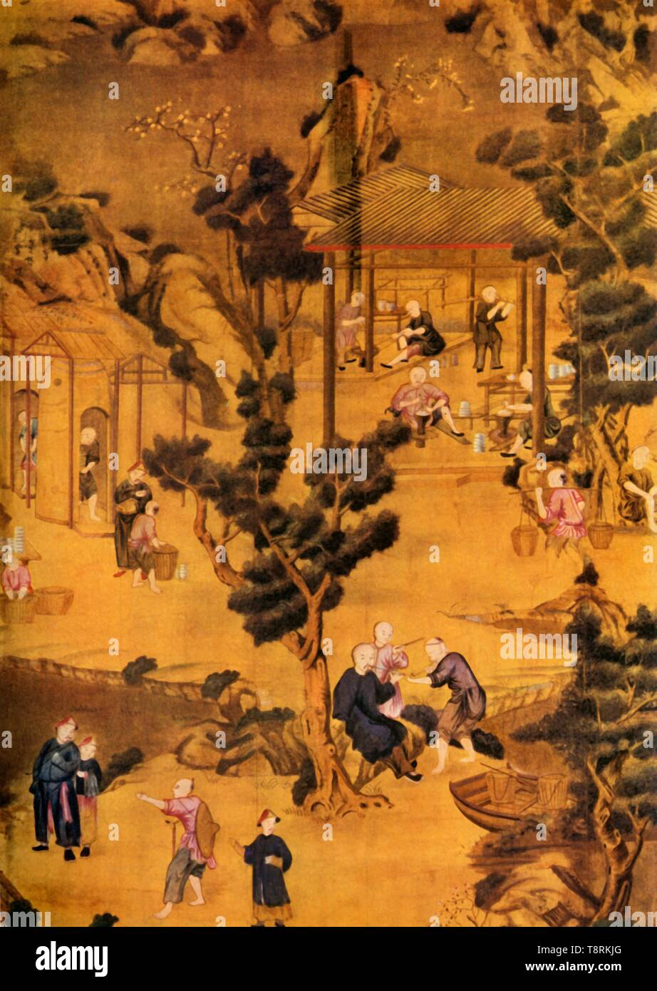 "'Chinese Wallpaper in Coutts' Bank', 18th century, (1934). 'Inspectors testing, sorting and storing rice, and a picnic party, travellers and a priest in the foreground'. Panel of Chinese wallpaper which was originally in Coutts Bank, Strand, London. From ""The Connoisseur"", Vol 93, No 389, January 1934. [The Connoisseur Ltd., London, 1934] - Stock Image"