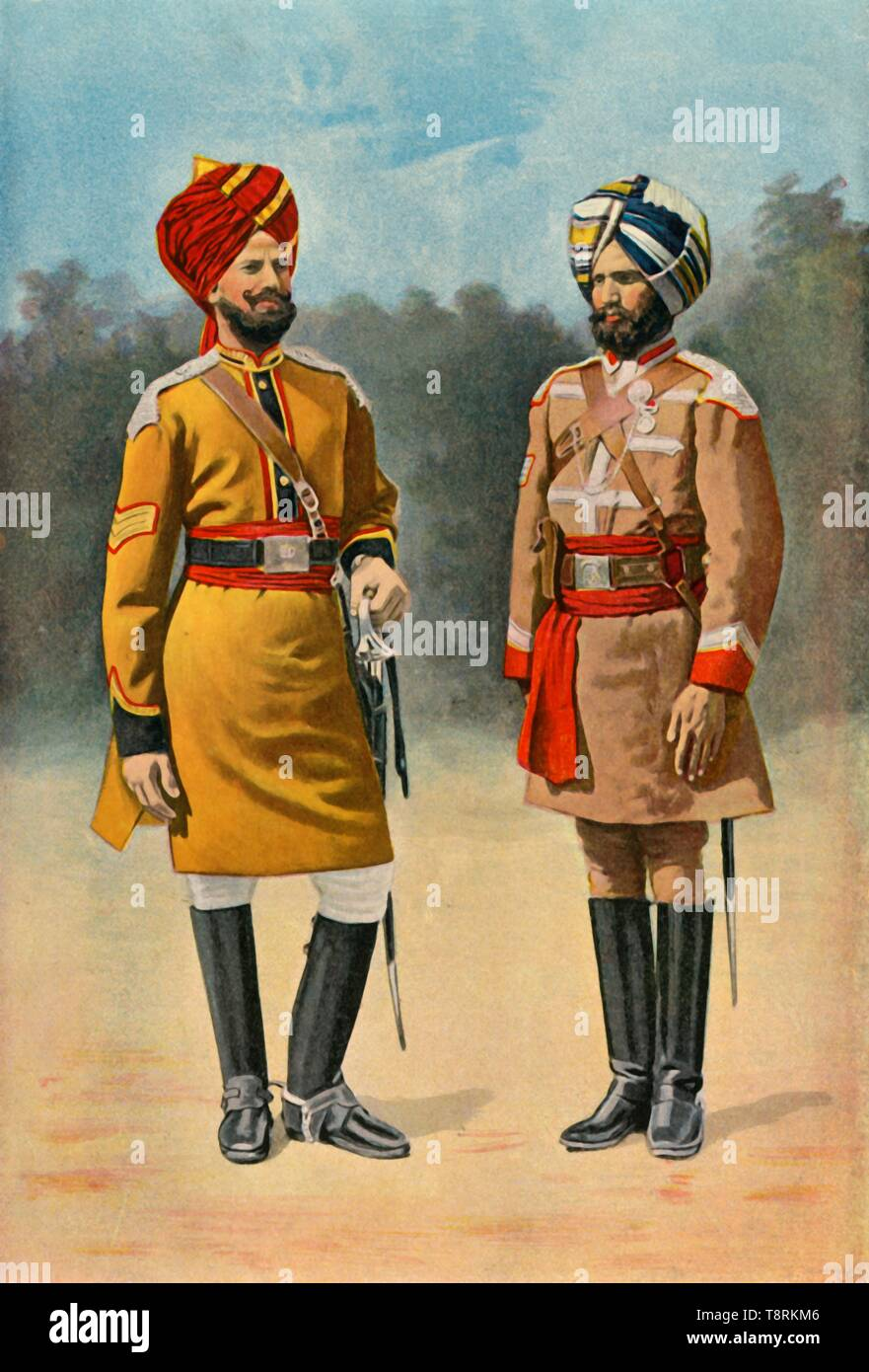 """'First Bengal Cavalry and Guide Cavalry', 1901. Indian soldiers during the period of the British Raj. From """"The Life and Deeds of Earl Roberts, Vol. I. - To The End of the Indian Mutiny"""", by J. Maclaren Cobban. [T. C. & E. C. Jack, Edinburgh, 1901] - Stock Image"""