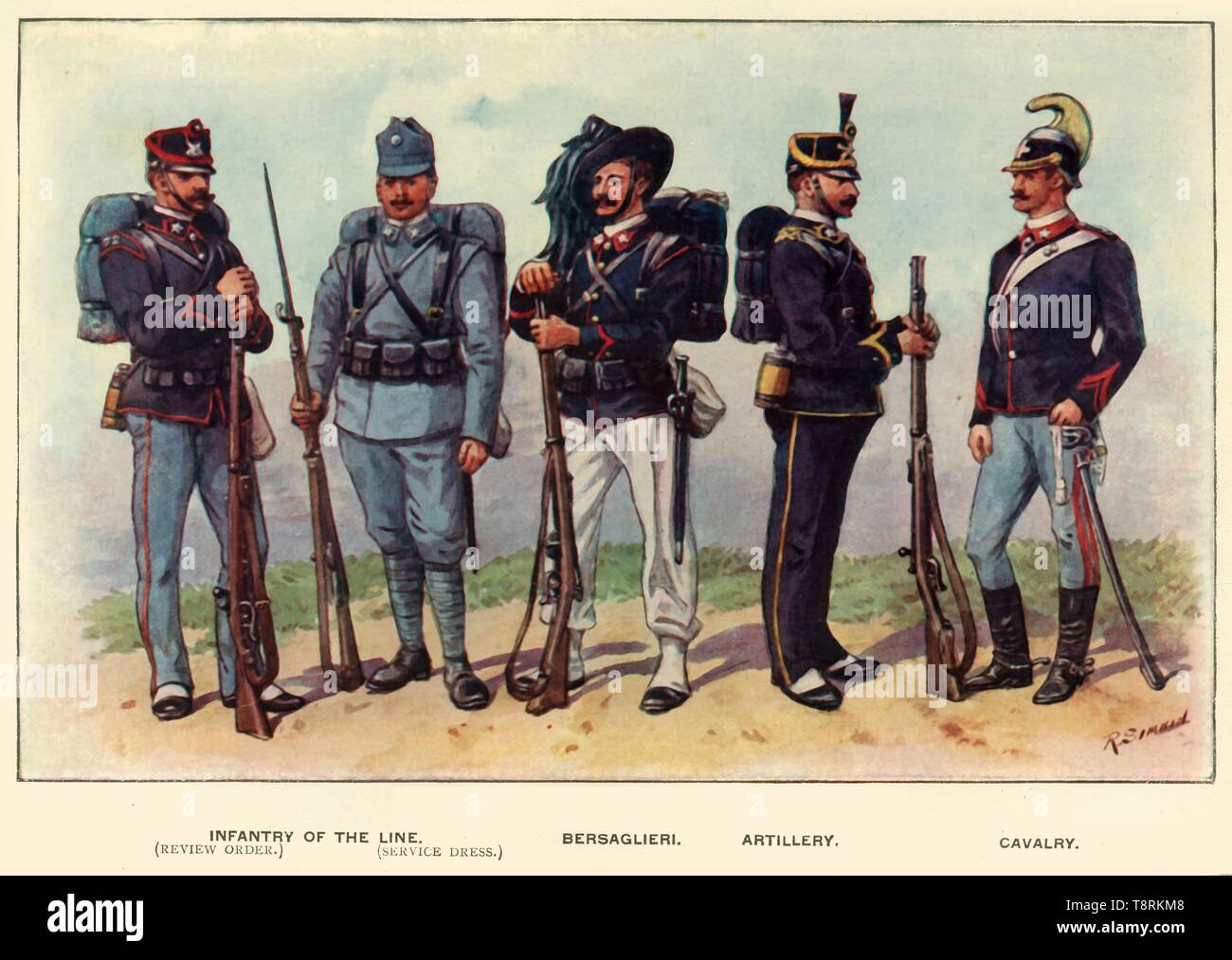 """'Types of the Italian Army', 1919. Soldiers serving in the First World War, 1914-1919: Infantry of the Line (review order and service dress), Bersaglieri, Artillery and Cavalry. From """"The History of the Great European War: its causes and effects"""", Vol. VI, by W. Stanley Macbean Knight. [Caxton Pulishing Company, Limited, London, 1919] - Stock Image"""