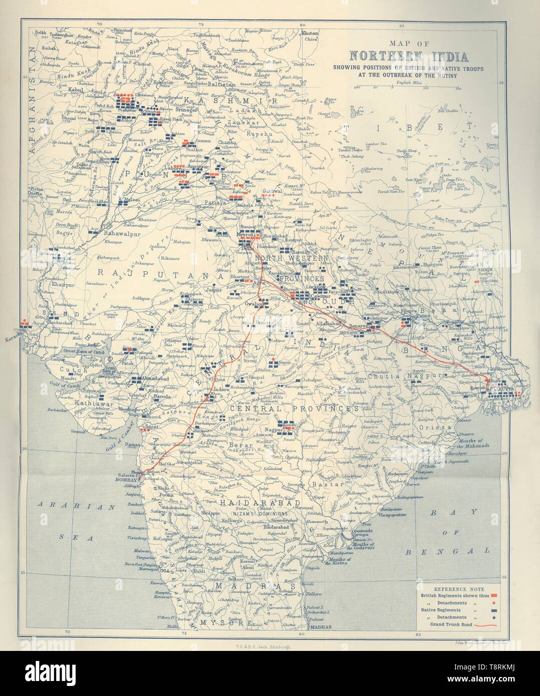 """'Map of Northern India, showing positions of British and Native Troops at the outbreak of the Mutiny', 1901. The Indian Rebellion was an uprising in India in 1857-1858, against the rule of the British East India Company. From """"The Life and Deeds of Earl Roberts, Vol. I. - To The End of the Indian Mutiny"""", by J. Maclaren Cobban. [T. C. & E. C. Jack, Edinburgh, 1901] - Stock Image"""