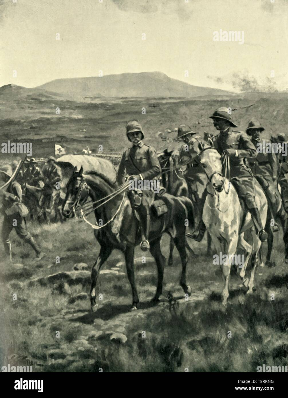 'Lord Roberts and Staff on the Veldt Approaching Pretoria', (1901). Creator: William Barnes Wollen. - Stock Image