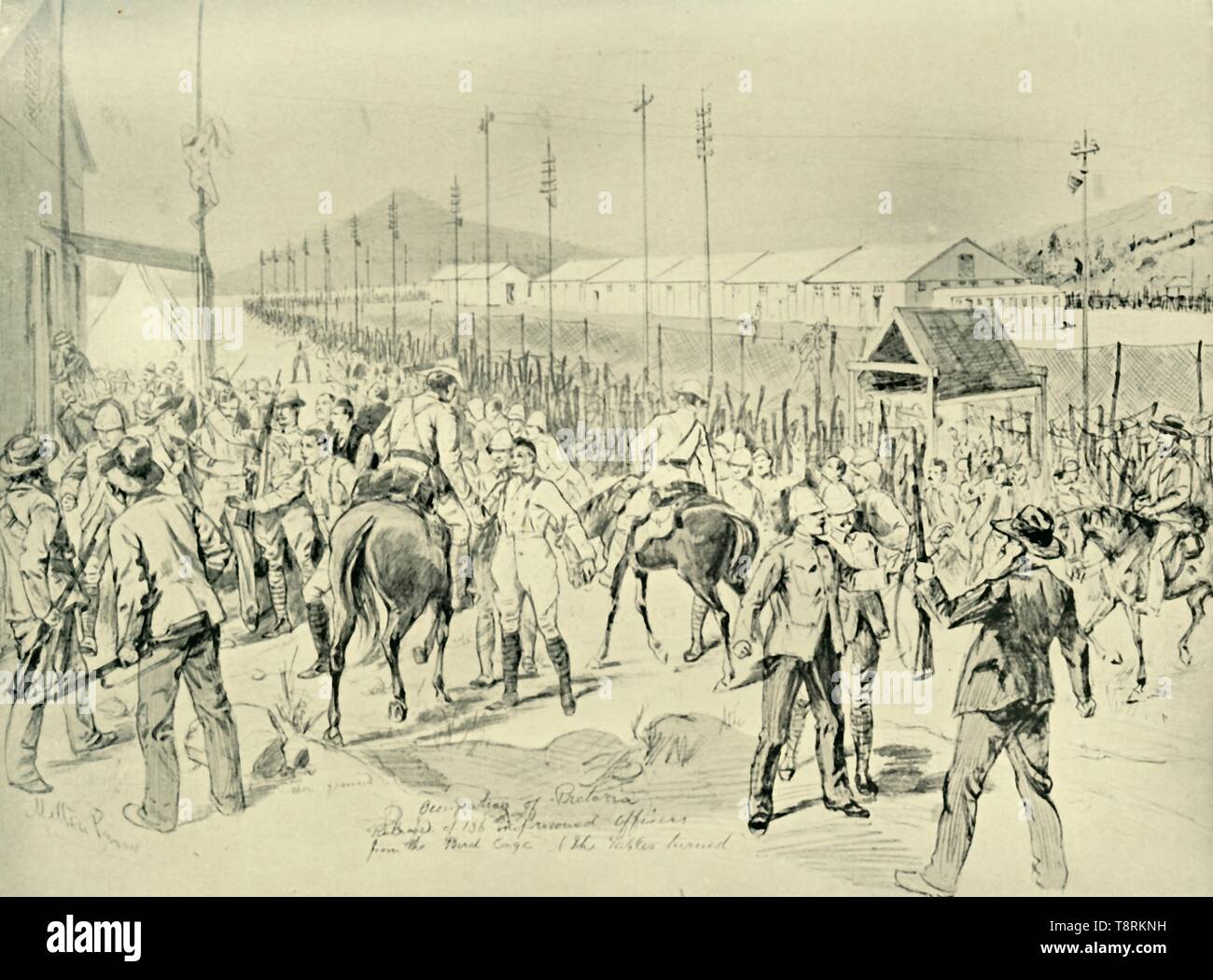 'The Occupation of Pretoria: Release of British Officers', (1901). Creator: Melton Prior. - Stock Image