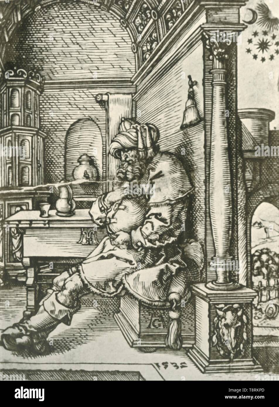 """'Jacob Meditating on Joseph's Dreams', 1532, (1908). Scene from the Old Testament: Jacob thinking about the dreams of his son Joseph, 16th century German interior with stove on the left. From """"The Burlington Magazine for Connoisseurs"""", Volume XIII - April - September 1908. [The Burlington Magazine Ltd, London, 1908] - Stock Image"""