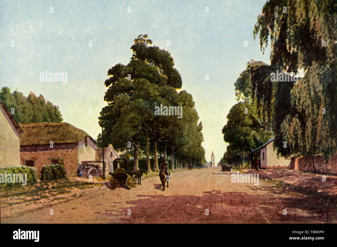 """'Church Street, Pretoria - The Approach to the Town', 1901. The town of Pretoria in the South African Republic, (now South Africa) during the period of the Boer Wars. The city surrendered to British forces under Frederick Roberts on 5 June 1900. From """"The Life and Deeds of Earl Roberts, Vol. IV. - To Lord Roberts's Reign in Pall Mall"""", by J. Maclaren Cobban. [T. C. & E. C. Jack, Edinburgh, 1901] - Stock Image"""