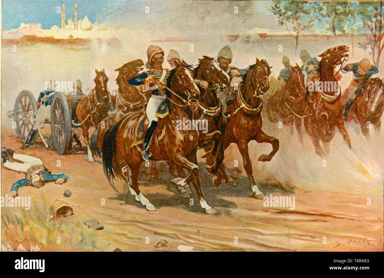 'Lieutenant Roberts Saving His Battery Under the Walls of Delhi', (1901). Creator: Sidney E Paget. - Stock Image
