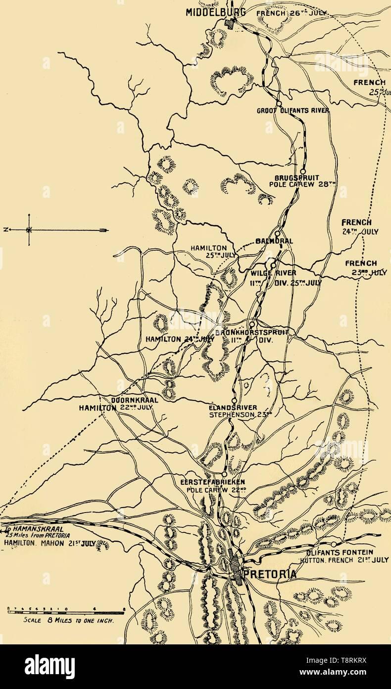 'Map Illustrating the Eastward Move from Eerstefabrieken to Middelburg', 1901. Creator: Unknown. - Stock Image