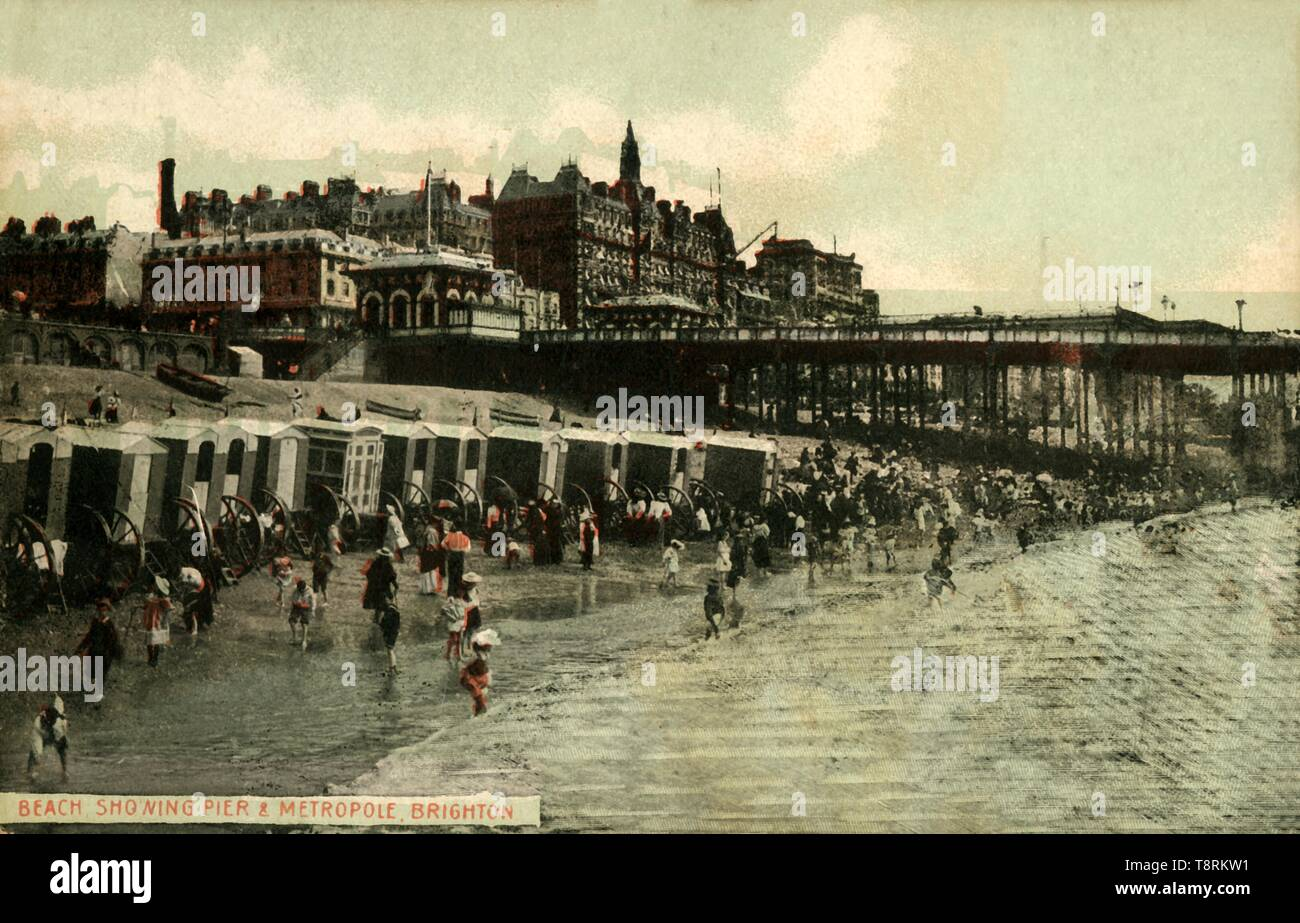 'Beach Showing Pier & Metropole, Brighton', late 19th-early 20th century.  Creator: Unknown. Stock Photo
