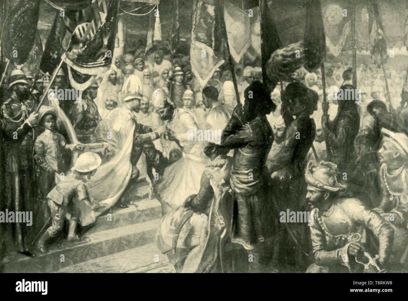 'The Prince of Wales Conferring the Order of the Star of India at Calcutta', 1901. Creator: Unknown. - Stock Image