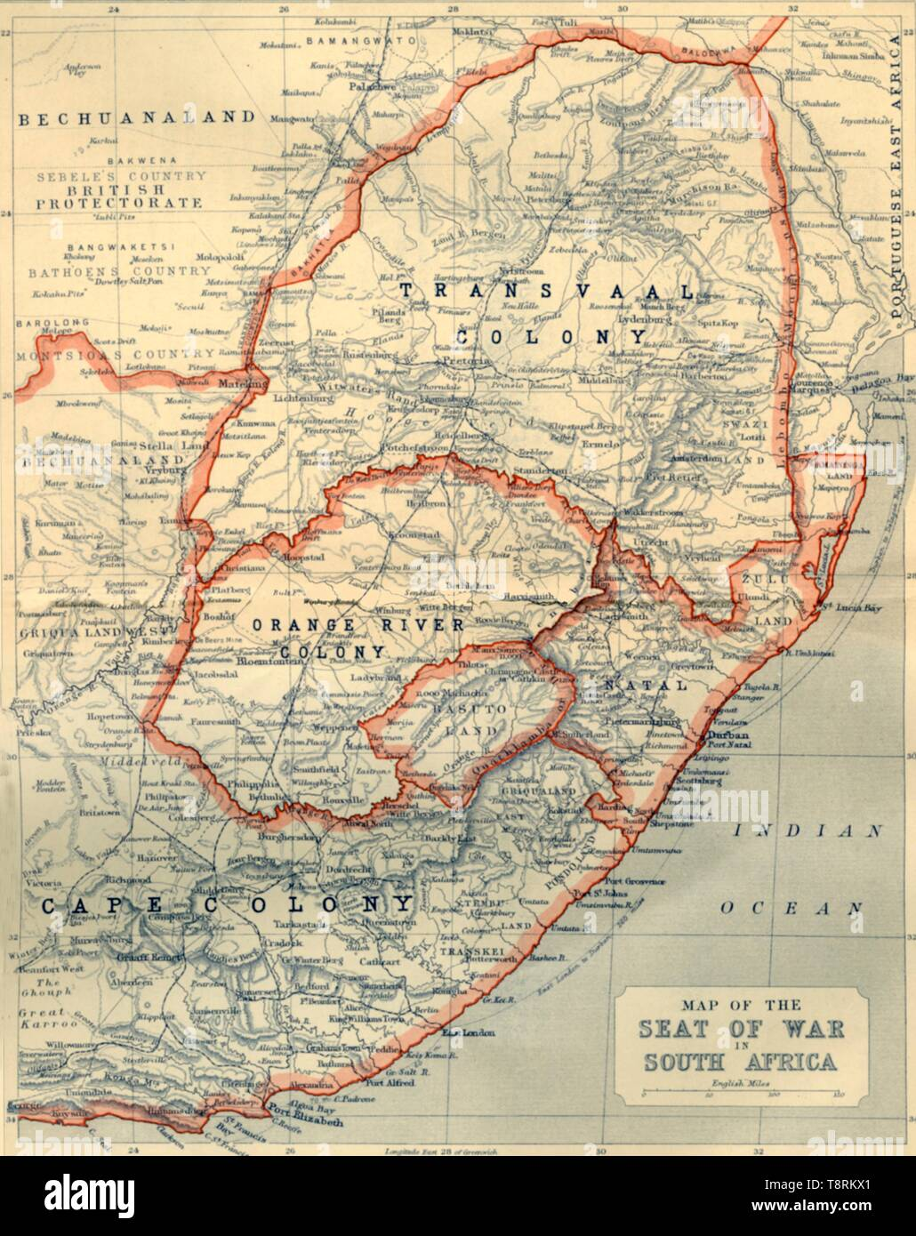 'Map of the Seat of War in South Africa', 1901. Creator: John Bartholomew. - Stock Image