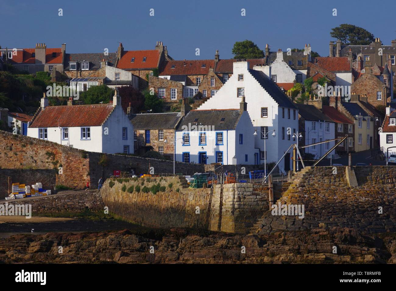 Crail Harbour and Cottages of the Fishing Village on a Summers Day. Fife, Scotland, UK. - Stock Image