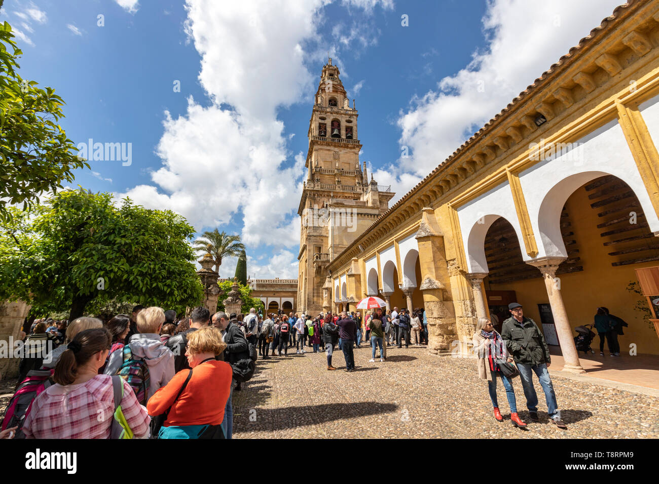 Tourist queueing for tickets. Bell tower  and Court of Oranges in Mosque–Cathedral of Córdoba, Mezquita Cordoba, Andalusia, Spain Stock Photo