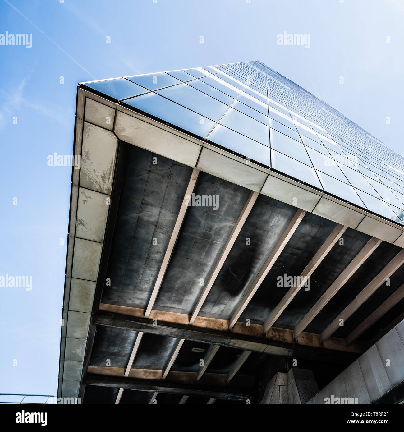 Brussels South / Belgium - 03 21 2018: The Brussels South Tour du Midi - Zuidertoren of the Belgian financial administration and pension tower - Stock Image