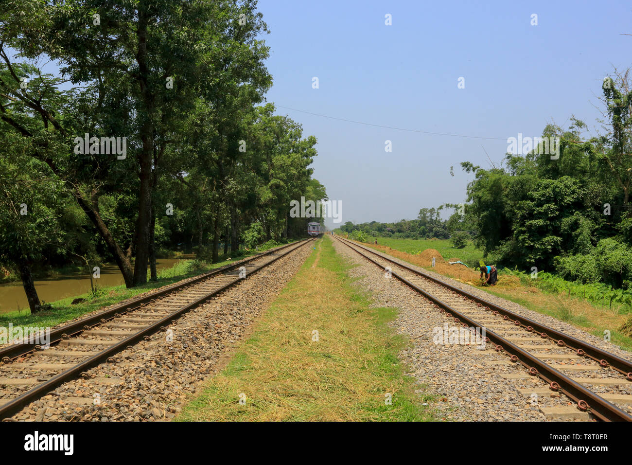 The Dhaka-Chittagong double track rail line at Narsingdi, Bangladesh - Stock Image