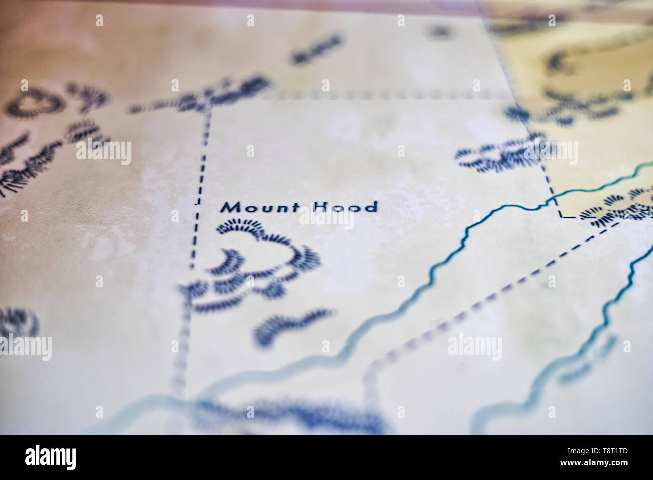 Close up of a topographical road map in Disney's Cars Universe - Mount Hood - Stock Image
