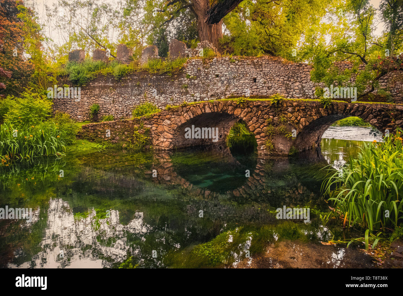 dreamlike medieval fantasy forest fairy landscape river bridge - Stock Image