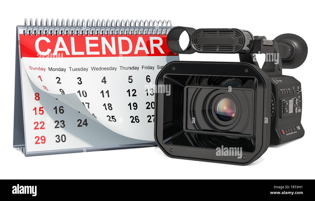 Desk calendar with professional video camera, television