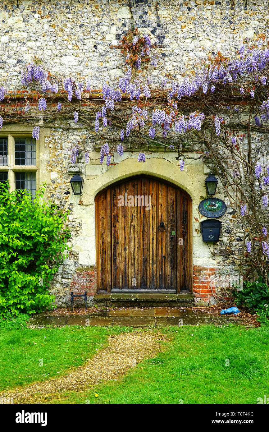 The door at Chawton House Stables - Stock Image