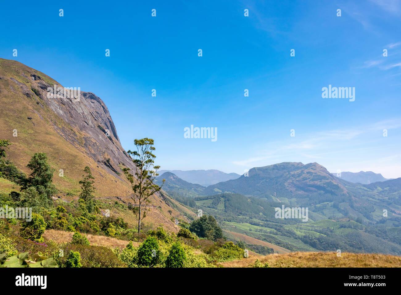 Horizontal view of Ana Mudi peak in Eravikulam National Park in Munnar, India. Stock Photo