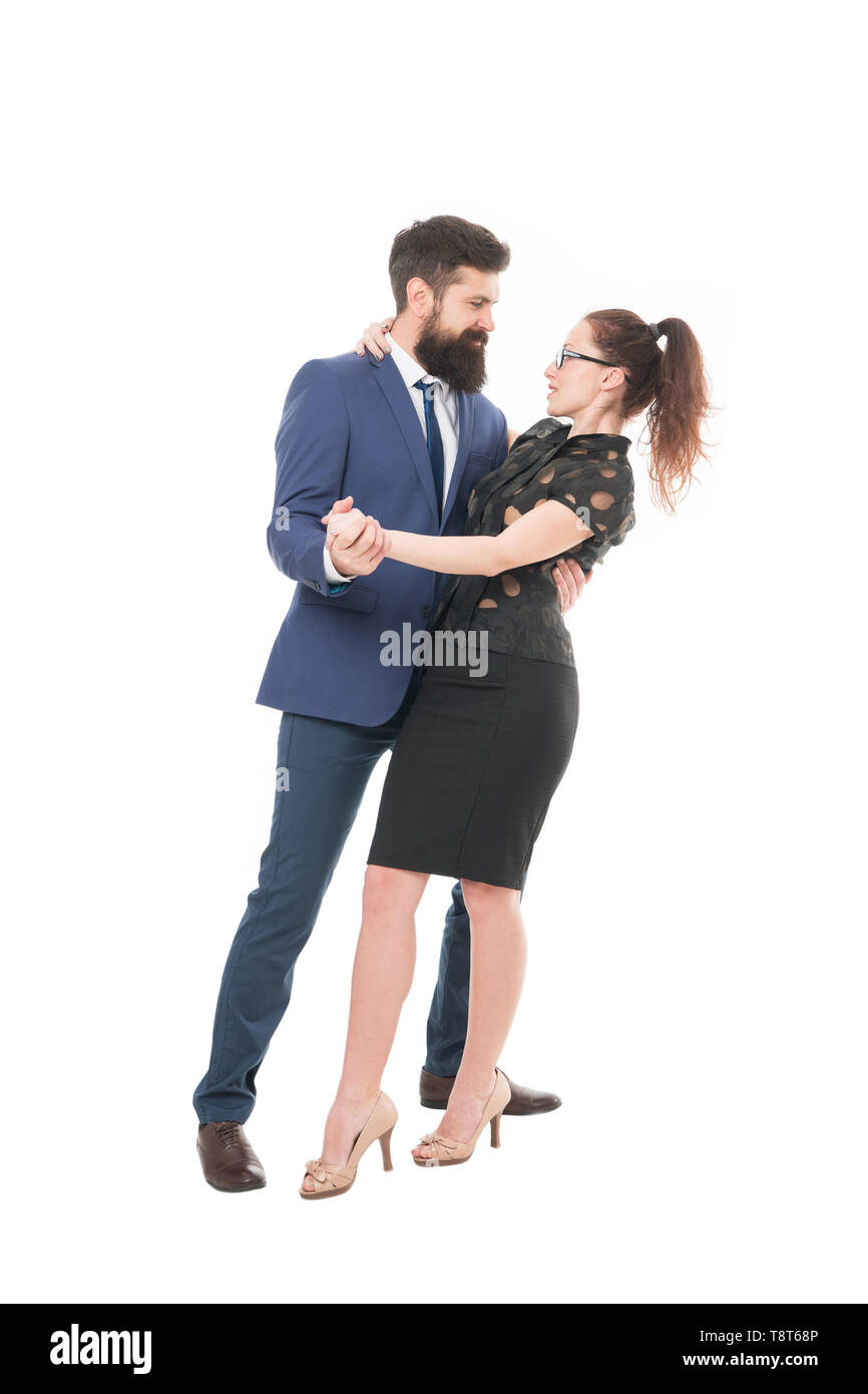 Dream job concept. Office job affair. Flirting with boss. First impressions are everything. Man and woman compete job position. Labor market competition. Job interview. Office flirt. Career company. - Stock Image