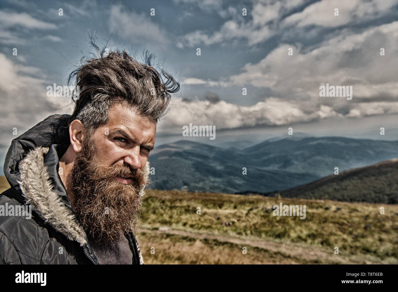Admirable Man Hipster With Long Beard Hair Mustache On Bearded Face With Schematic Wiring Diagrams Amerangerunnerswayorg