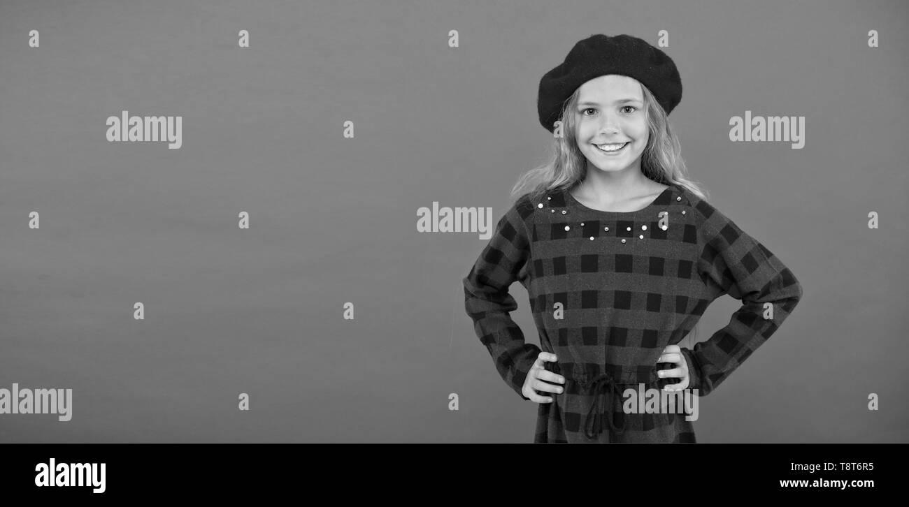 9502457e242d1f Wear beret like fashion girl. Kid little cute girl with long blonde hair  posing in