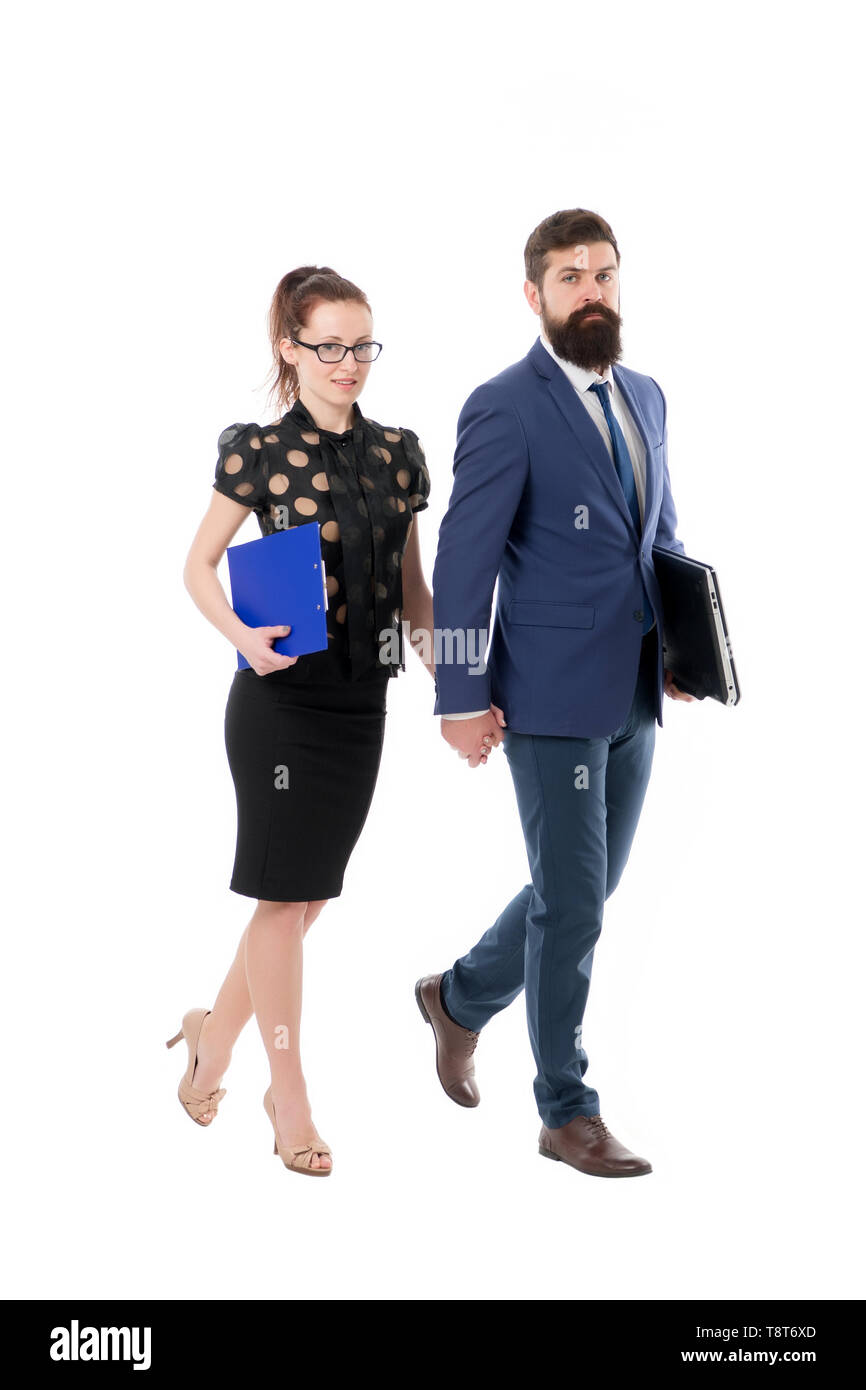 Corporate lawyer. Consulting and promotion. Business insurance. Insurance agent with laptop. Man and woman business partners. B2B consulting. Insurance team concept. Partnership and cooperation. - Stock Image
