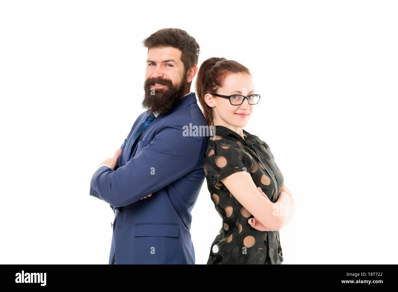 Labor market competition. HR manager. Job interview. Office job lifestyle. Figure out type of position you would really enjoy. Colleagues looking for new job. Man and woman compete for job position. - Stock Image