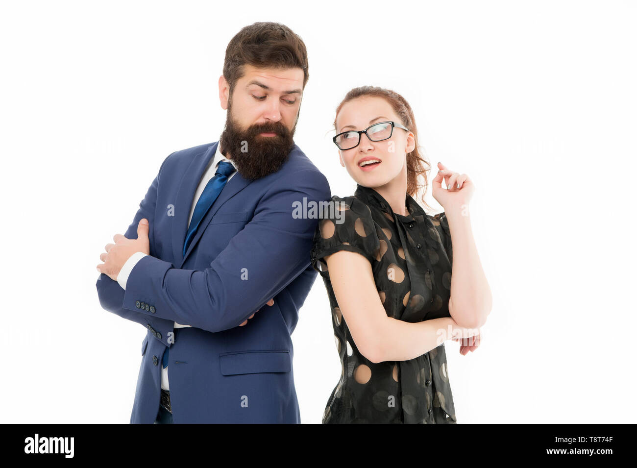 HR manager. Office job lifestyle. Figure out type of position you would really enjoy. Colleagues looking for new job. Man and woman compete for job position. Labor market competition. Job interview. - Stock Image