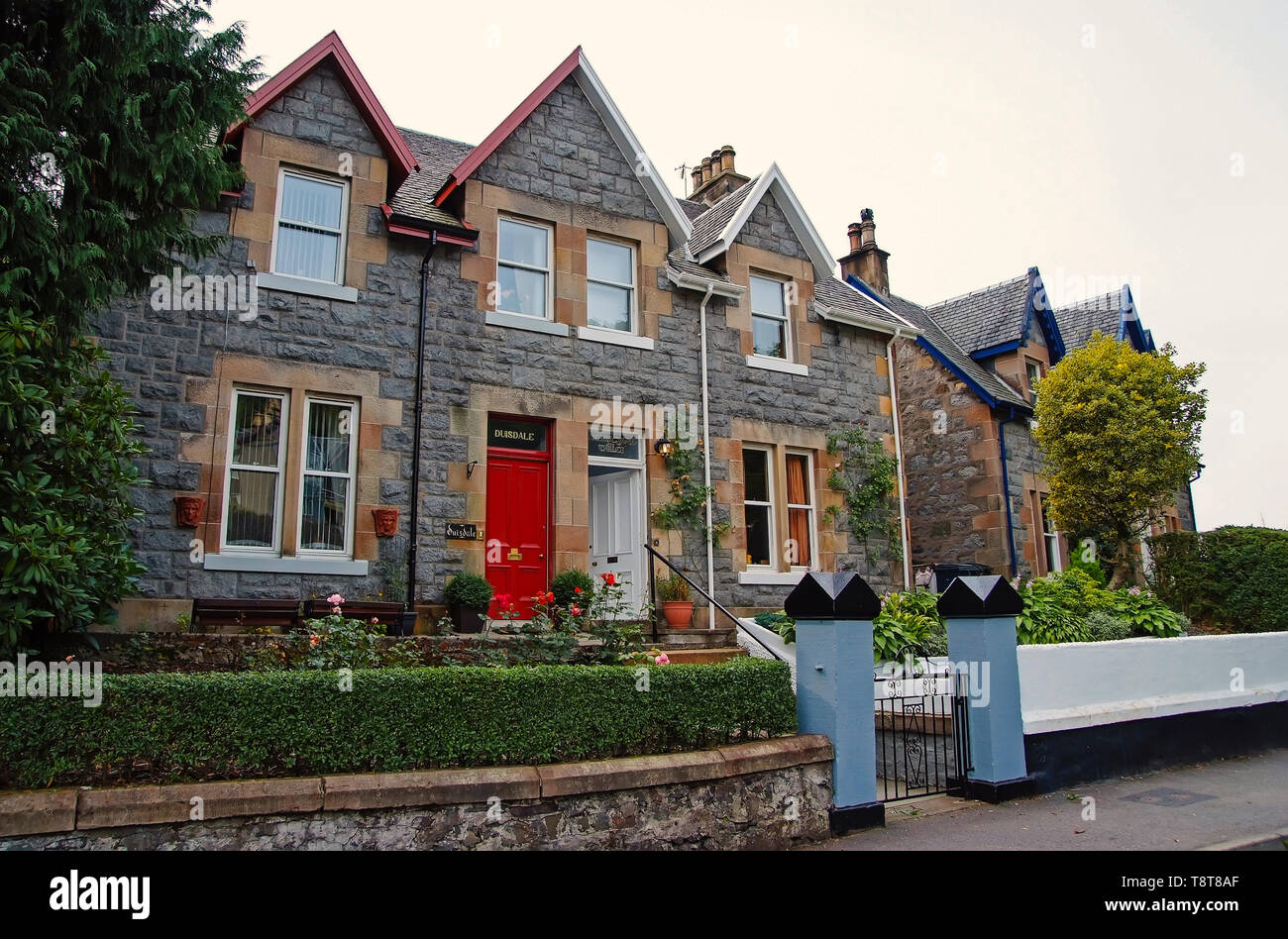 Oban, United Kingdom - February 20, 2010: Duisdale house hotel. Victorian style building. Architecture and design, Stylish accommodation, Vacation and wanderlust - Stock Image