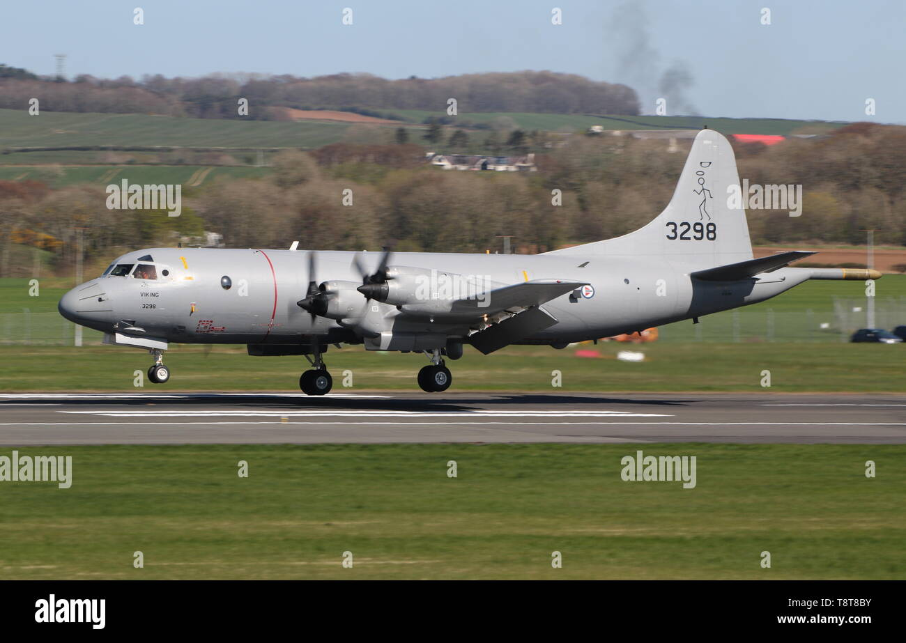 3298 'Viking', a Lockheed P-3C Orion operated by the Royal Norwegian Air Force, at Prestwick Airport during Exercise Joint Warrior 19-1. - Stock Image