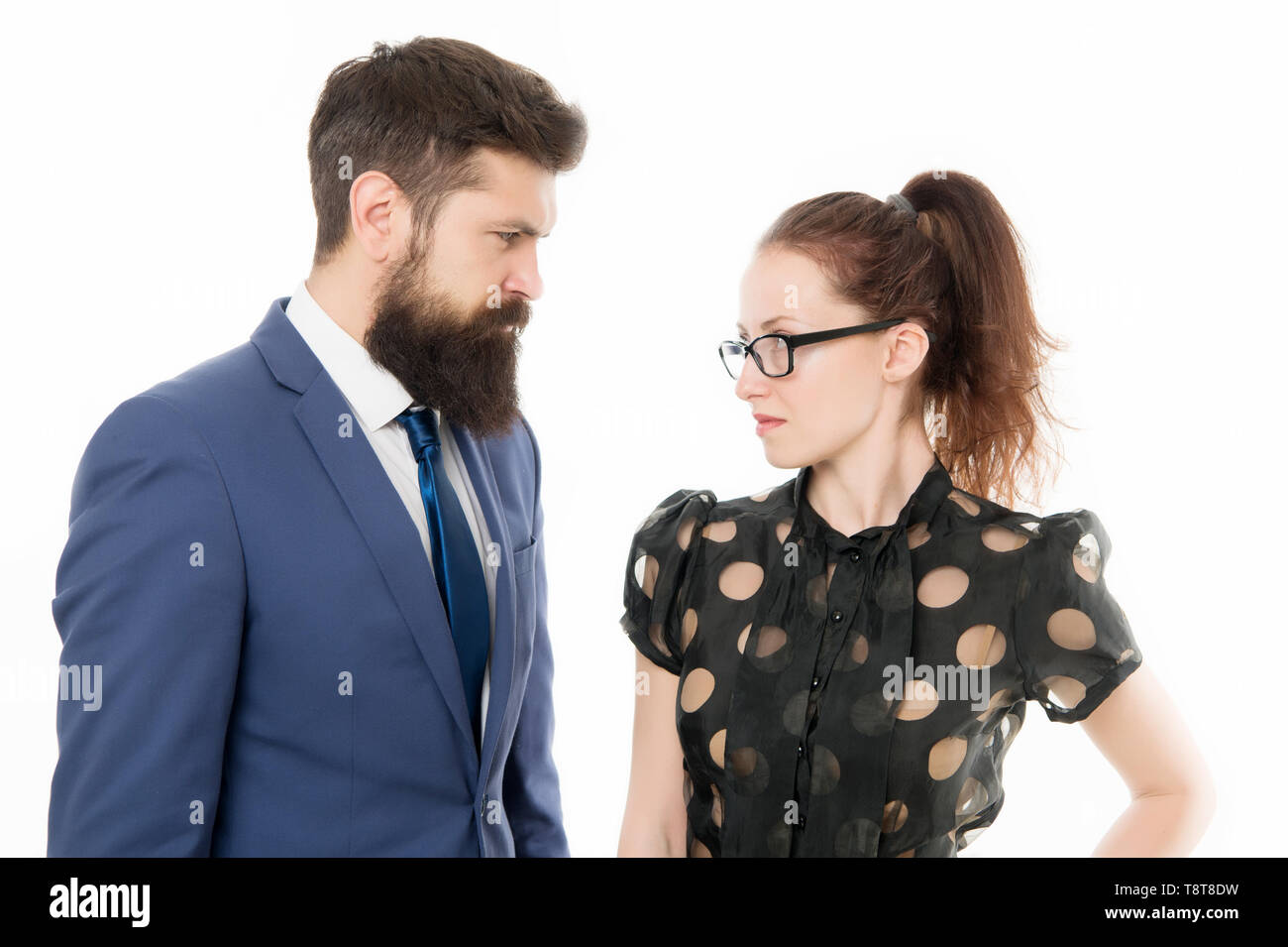 Get specific. Colleagues looking for new job. HR manager. Job interview. Office job lifestyle. Figure out type of position you would really enjoy and devote yourself finding something that matches. - Stock Image