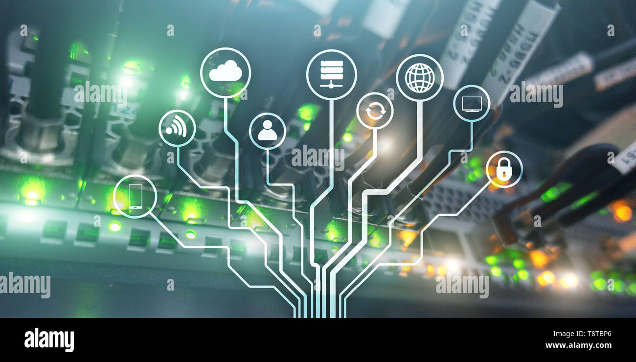 IOT. Internet of Things. Information Communication Network. Artificial Intelligence. Website banner. Datacenter background. - Stock Image