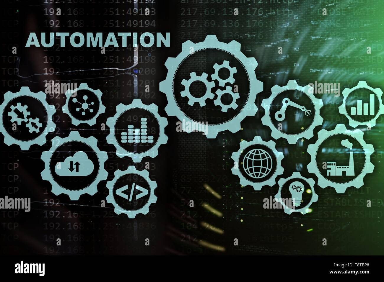 Automation productivity increase concept. Technology Process on a server room background. - Stock Image
