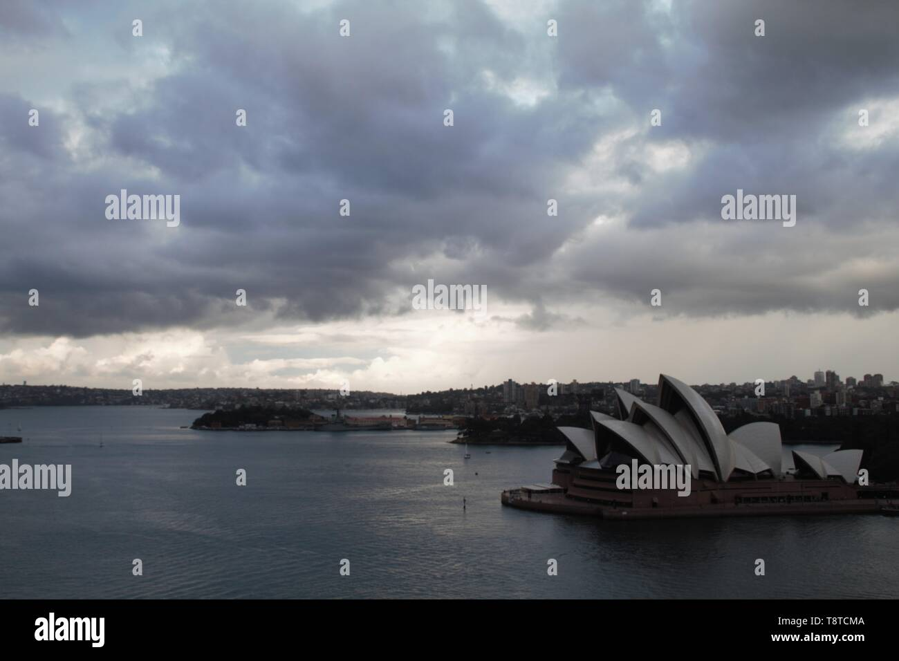 Panoramic view of the Sydney opera house from the harbour bridge - Stock Image