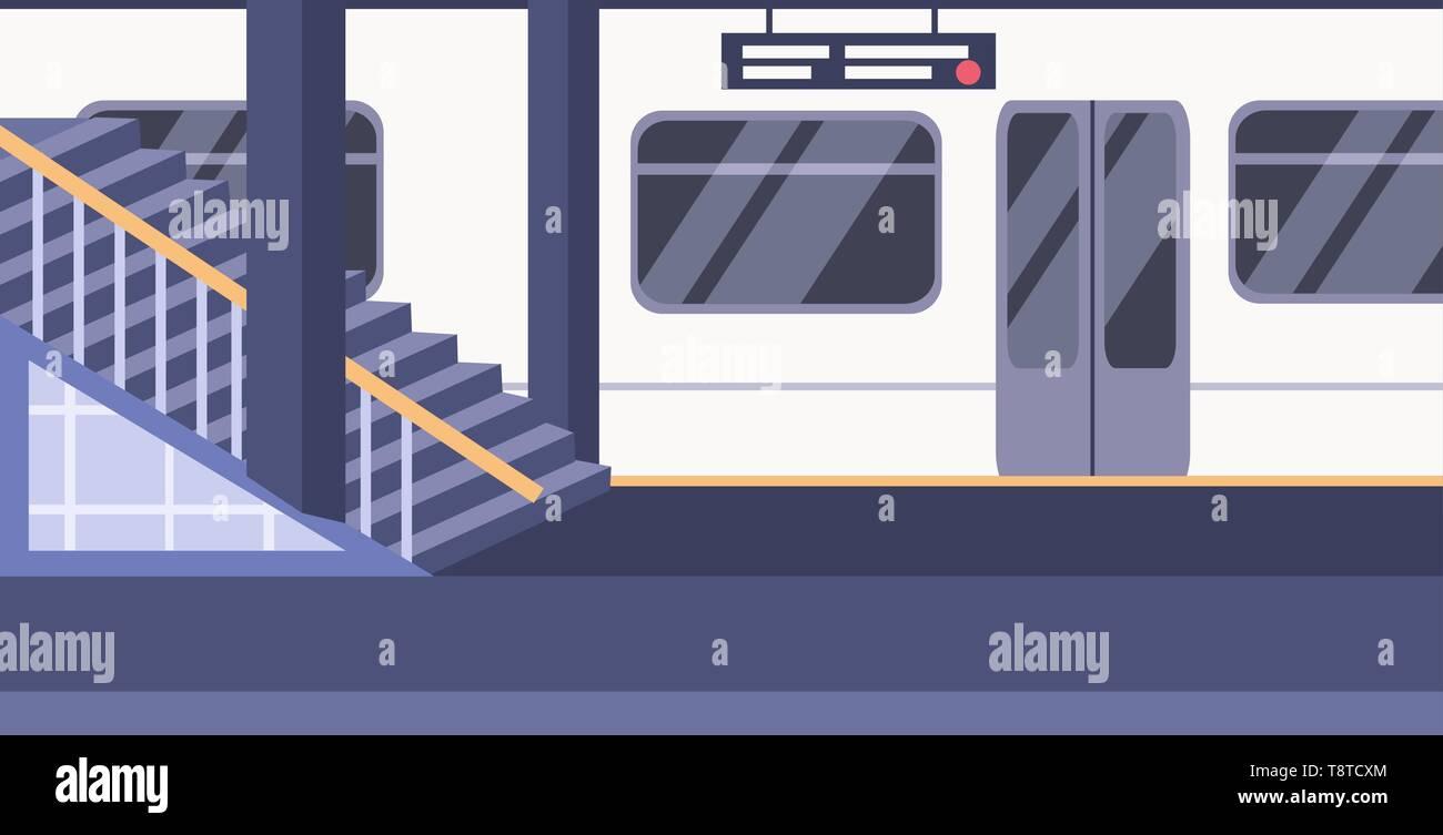 train subway railway underground station empty no people platform city transport concept flat horizontal - Stock Vector